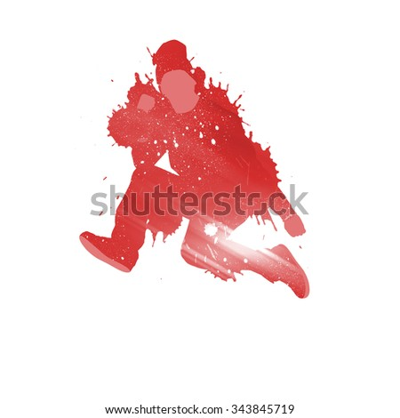Colorful silhouette of dancer in jump on white background