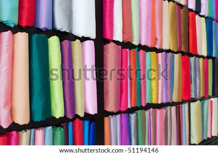Colorful silk fabric samples - stock photo