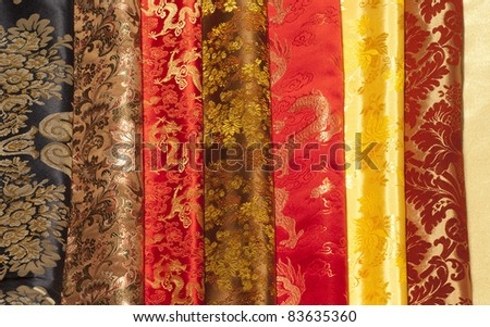 colorful silk samples - stock photo