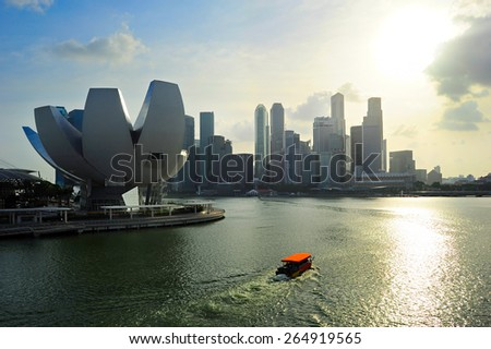 Colorful Singapore bay in the sunset light. - stock photo