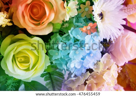 Colorful singles rose flowers fabric made with gradient for background
