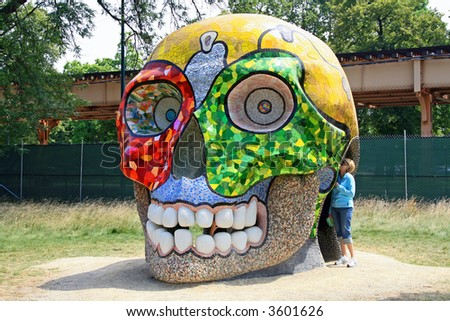 Colorful Skull in Garfield Park & Conservatory, Chicago - stock photo