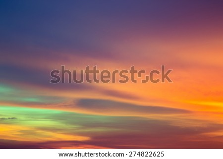 Colorful sky after the sunset. Evening sky background.