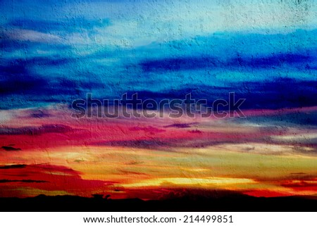 Colorful sky and clouds on the wall background texture - stock photo