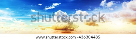 Colorful sky and clouds. Summer background - stock photo