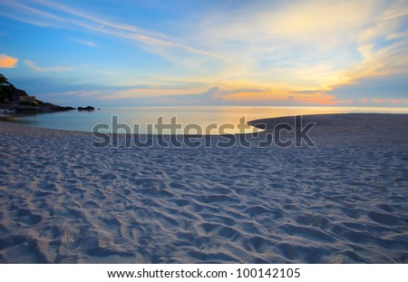 colorful sky in evening at sea beach original color - stock photo