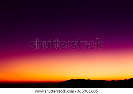 colorful sky just after sunset with mountain. Mae Wong National Park.
