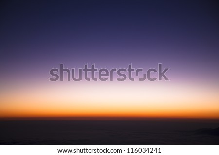 colorful sky  just before sunrise - stock photo