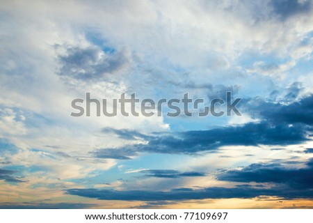 colorful sky of russian north - stock photo