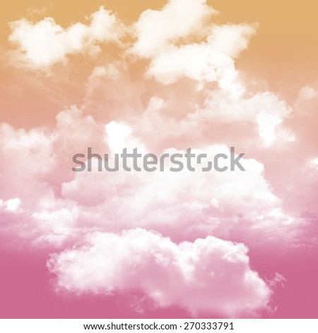 colorful sky Pink and orange tone and white cloudy - stock photo