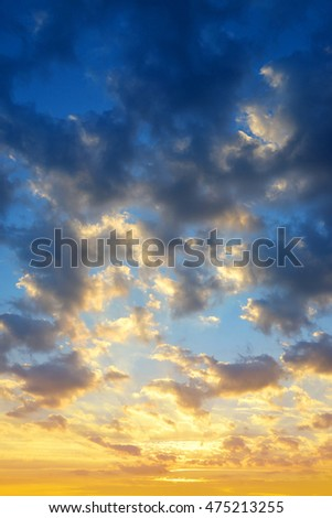 Colorful sky with clouds at sunset. Nature background.