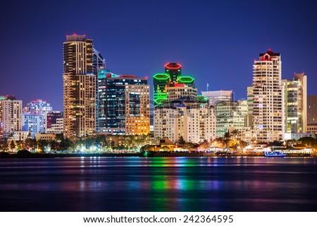 Colorful Skyline San Diego at Night. North San Diego Bay. - stock photo