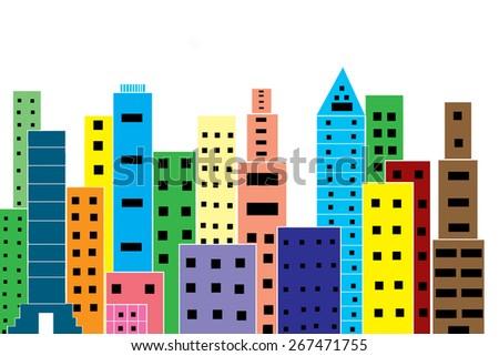 colorful skyscraper on white background - stock photo