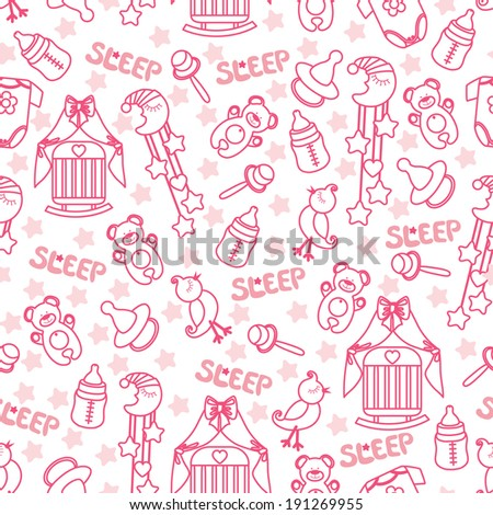 Colorful Sleep newborn items collection in seamless pattern for Baby girl.For fabrics,Wallpaper,packaging,background.Cartoon illustration