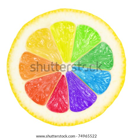 colorful slice of lemon with clipping path for each color