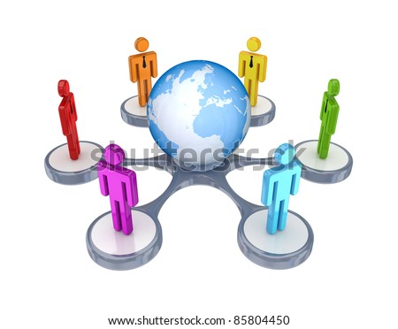 Colorful small people around the Earth.Isolated on white background.3d rendered. - stock photo