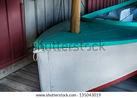 Colorful small personal sailboat - stock photo