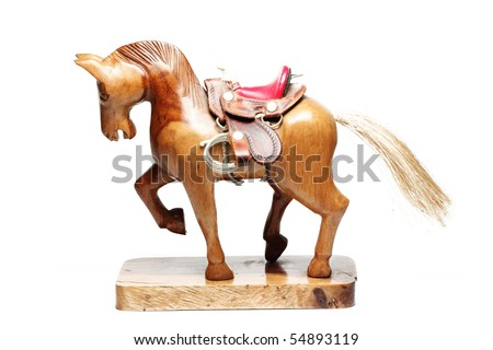 colorful small wooden horse - stock photo