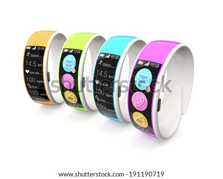 Colorful smart wristbands isolated on white background - stock photo