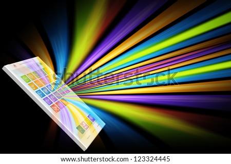 Colorful smartphone illustration isolated on black - stock photo