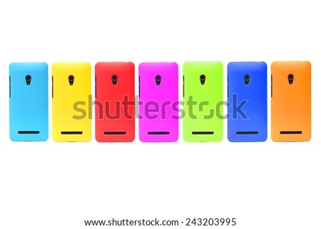 colorful smartphone on isolated background - stock photo