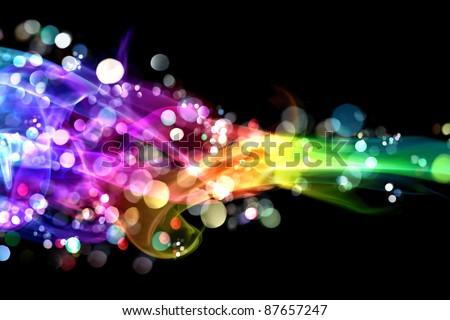 Colorful smoke and lights - stock photo