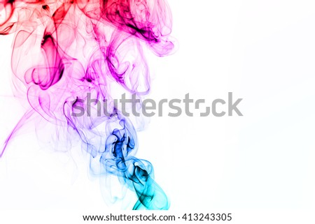 Colorful smoke isolated on white background - stock photo