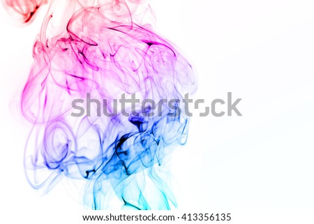 Colorful smoke isolated on white background - stock photo