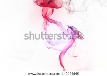 Colorful smoke on the white background - stock photo