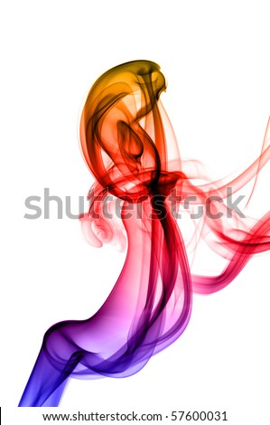 colorful smoke on white