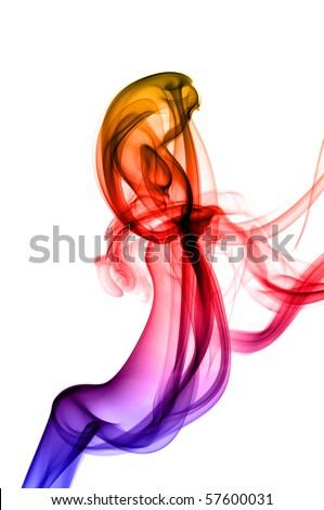 colorful smoke on white - stock photo