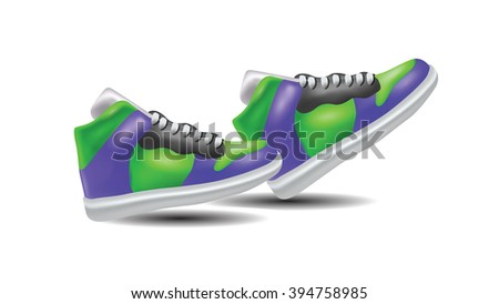 Colorful Sneakers Isolated on White