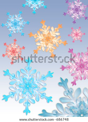 Colorful snowflake - stock photo
