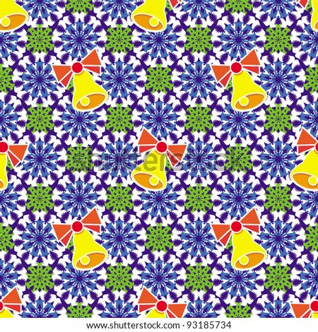 Colorful snowflakes and bells. Seamless pattern. Illustration. Raster version. - stock photo