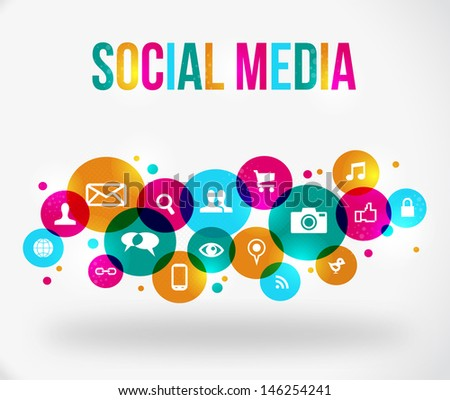 colorful social network concept.  - stock photo