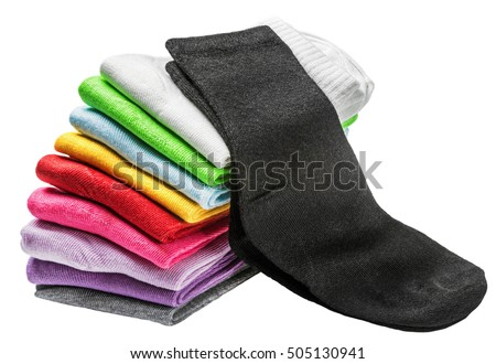 colorful socks isolated on white. Green, pink, red, white and other colors