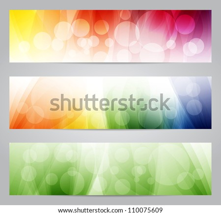 Colorful soft banners - raster version - stock photo