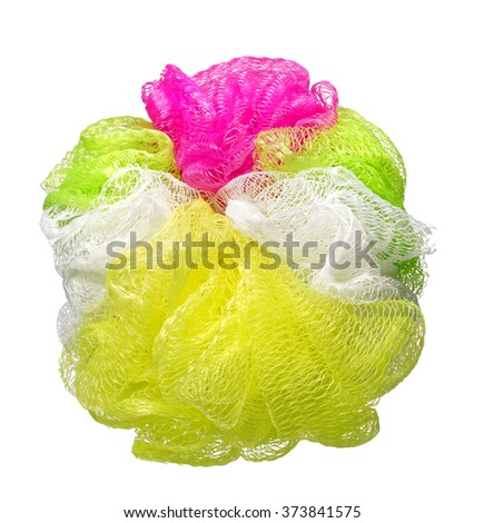 Colorful Soft bath puff or sponge isolated on white background - stock photo