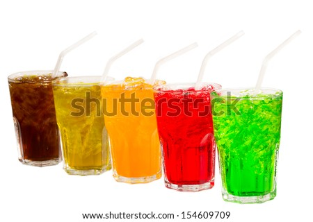 Colorful soft drinks - stock photo
