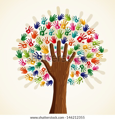 Colorful solidarity isolated conceptual tree. - stock photo