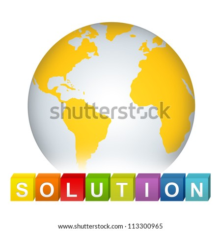 Colorful Solution Cube Box With Yellow Earth For Business Solution Concept Isolated on White Background