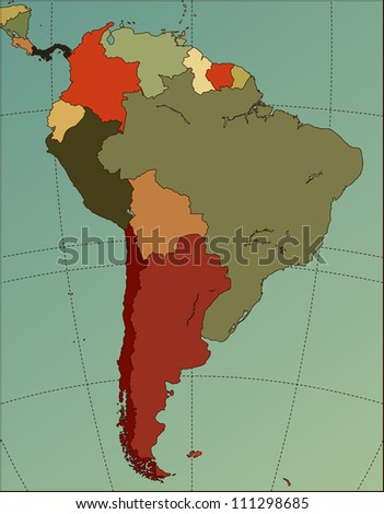 Colorful South America Map. Cartography collection. - stock photo