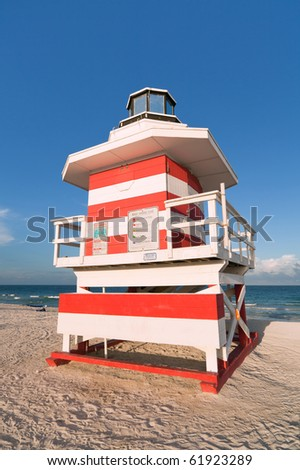 Colorful South Beach Lifeguard Station in the late afternoon in Miami. - stock photo