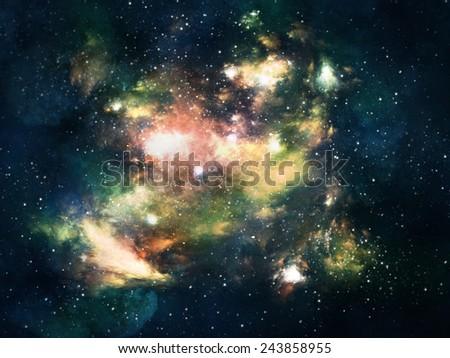 Colorful space nebula - stock photo
