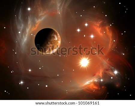 Colorful space nebula and planet - stock photo