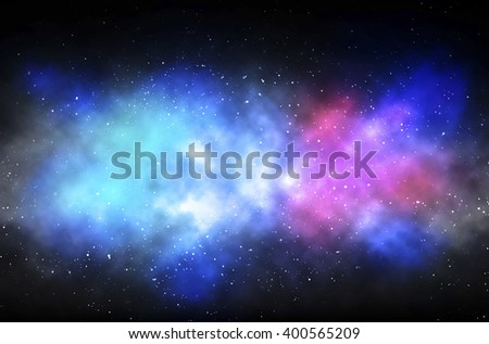 Colorful Space Nebula, Over Background