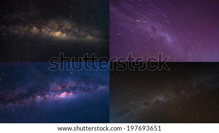 Colorful space shot of milky way galaxy and Star trails for background purpose  - stock photo