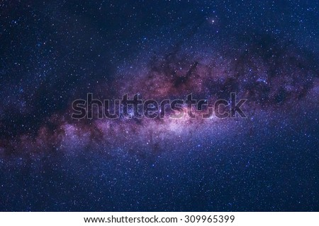 Colorful space shot of milky way galaxy with stars on a night sky background - stock photo