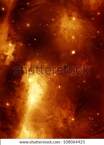 colorful space star-field nebula and planet in red - stock photo
