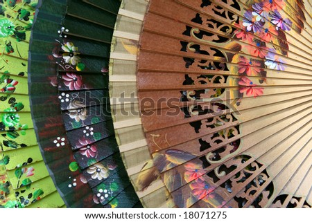 Colorful Spanish Fans for sale in Sevilla, Spain - stock photo